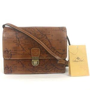 Patricia Nash Map Print Lanza Brown Handbag Tan